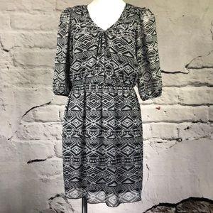 Sweet Storm dress aztec print 3/4 sleeve v neck